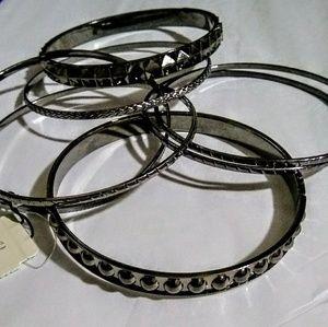 NWT Set of 8 Dark Grey Textured Bangle's